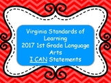 VA Standards of Learning 1st Grade Language Arts I Can Statements