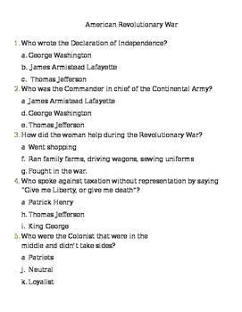 VA Studies-American Revolution Assessment