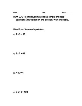 VAAP- HSM-EO 2- B One-Step Equations w/ a variable
