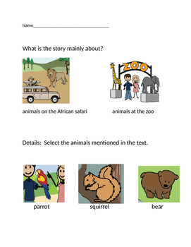 """VAAP Main Idea & Details Worksheet - """"At the Zoo"""" (Low Level)"""