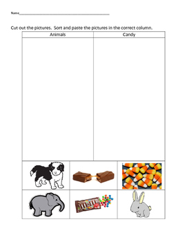 VAAP Science Classify Objects - Animals v Candy (Low Level