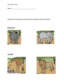 """VAAP Words Meanings - """"African Safari"""" (Low Level)"""