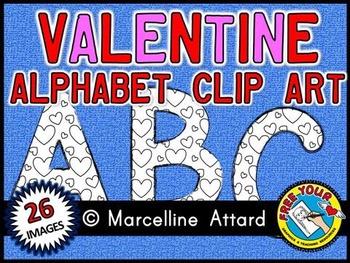 VALENTINE ALPHABET CLIP ART SET - BLACK AND WHITE UPPERCAS