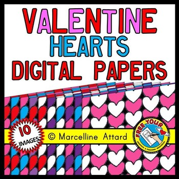 HEARTS DIGITAL PAPERS: VALENTINE'S DAY CLIPART BACKGROUNDS