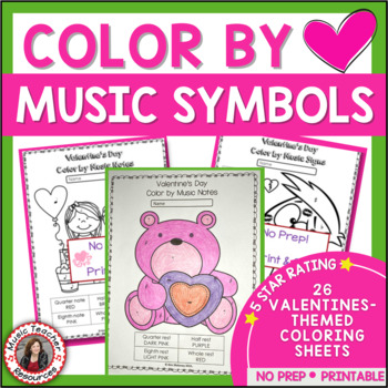 VALENTINE'S DAY Color by Music Symbols
