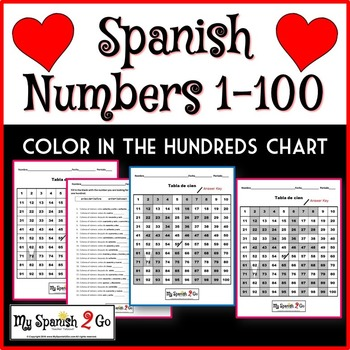 VALENTINE'S DAY:  Practice with numbers 1-100 in Spanish--