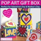 Valentine's Day Pop Art Hearts Doodle Gift Box Craftivity