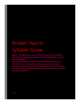VALENTINES DAY Broken Heart Syllable Game