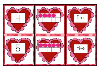 VALENTINE'S DAY Number 10-frames Matching Cards FREE