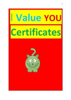 VALUES CERTIFICATES FOR STUDENTS + WORKSHEETS