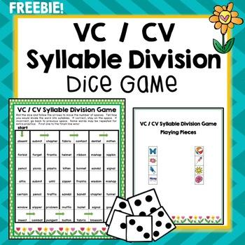 VC / CV Syllable Division Dice Game, Segmenting, Literacy,
