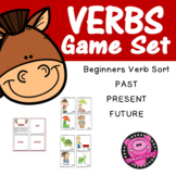 Verb Tasks Card Sorting Game Set for First and Second Graders