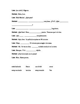 VERBOS - ING/ MANDATOS practica con convo - fill in blanks