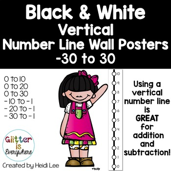 VERTICAL Number Line Ladder Posters - Tuxedo Black and Whi