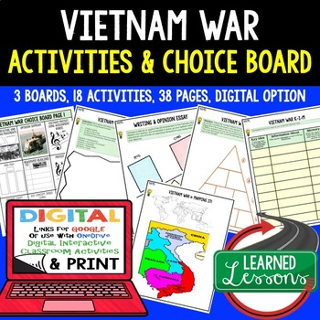 US History VIETNAM WAR CHOICE BOARD & Activities with Google Link