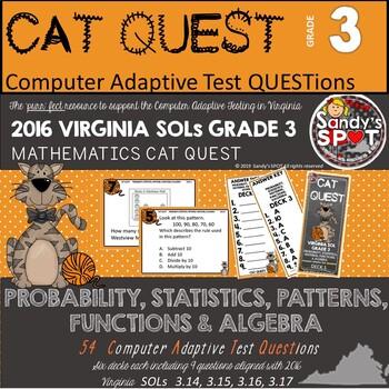 VIRGINIA SOL MATH Grade 3 CAT QUEST BUNDLE Probability, St