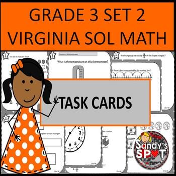 GRADE 3 VIRGINIA SOL MATH TASK CARDS SET 2 TEST PREP  VIRG