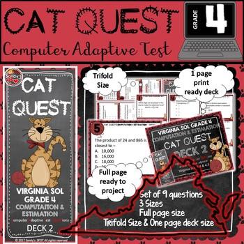 VIRGINIA SOL MATH Grade 4 DECK  2 CAT QUEST Computation an