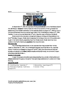 VJ Day - Victory over Japan - Review Article Questions Voc