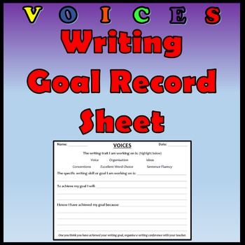 VOICES - Writing Goal Record Sheet (Freebie)