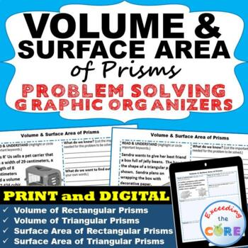 VOLUME and SURFACE AREA of PRISMS Word Problems with Graph