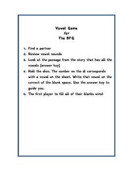 VOWEL GAME FOR BFG