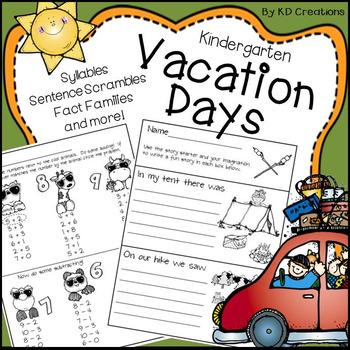 Kindergarten Vacation Days * Scrambles * Syllables * Writi