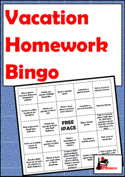Vacation Homework Bingo