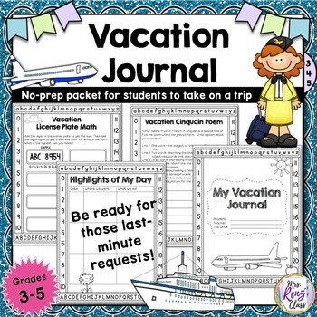 Vacation Journal for Your Absent Student with 40 pages of