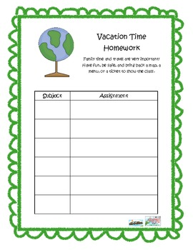 Vacation Time Homework Sheet