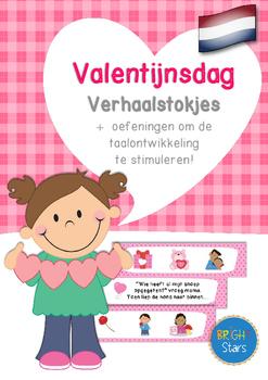 Valentijnsdag Verhaalstokjes + oefeningen om de taalontwi