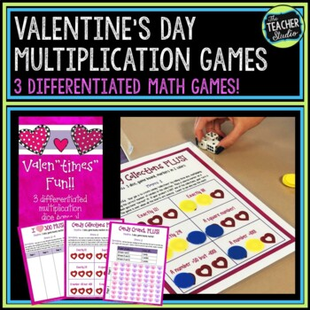 """Valen""""times"""" Math Games--Set of 3 Differentiated Multiplic"""