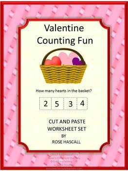 Valentine's Day Counting Cut and Paste No PREP Printables