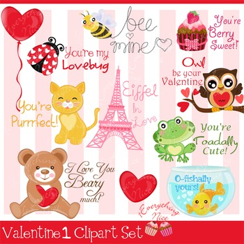 Valentine 1 Clipart Set