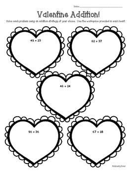 Valentine 2-Digit Addition--Using Strategies to Solve