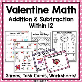 Valentine Addition Games - Print & Play!