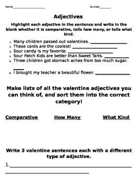 Valentine Adjectives