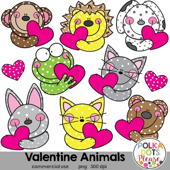 Valentine Animals with Hearts Clipart {Graphics for Commer