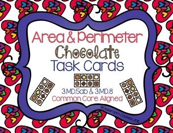 Area & Perimeter Chocolate Task Cards (Common Core Aligned