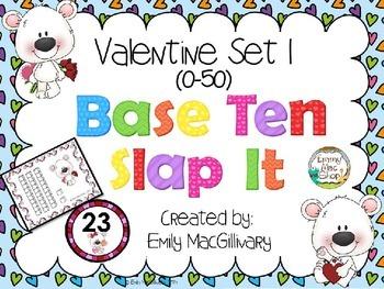 Valentine Base Ten (10) Slap It!  (0-50)