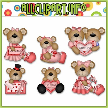 Valentine Bears 2 Clip Art - Alice Smith Clip Art