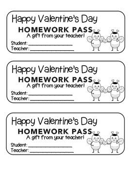 """Valentine"" Bee Couple - Homework Pass –Holiday FUN! (blac"