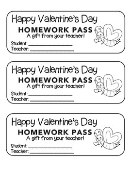 """""""Valentine"""" Butterfly Flying - Homework Pass –Holiday FUN!"""