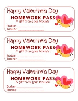"""""""Valentine"""" Butterfly Flying - Homework Pass – Holiday FUN"""