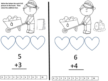 Valentine CVC Words and Addition