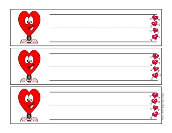 Valentine Cartoon Hearts Name Plates for Desk or Table