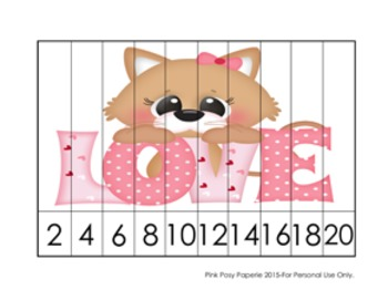 Valentine Cats Number Counting Strip Puzzles - 5 Designs -