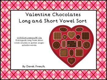 Valentine Chocolates Long and Short Vowel Sort