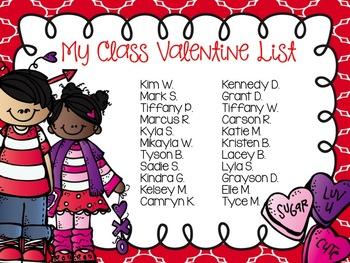 Valentine Class List - Editable