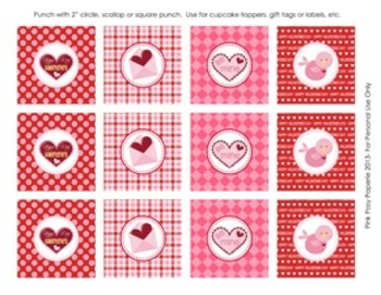 Valentine Classroom Party Cupcake Toppers or Tags